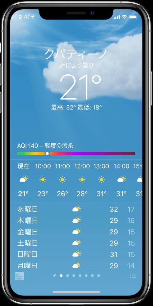 「天気」画面。場所、現在の気温、その日の最高/最低気温、空気質指数のチャートがあり、空気質指数には「軽度の汚染」と表示されています。画面の中央には、1時間ごとの予報と向こう7日間の予報が表示されています。中央下部に並んだ点は、場所リストに登録されている場所の数を示しています。右下隅には「都市を編集」ボタンがあります。