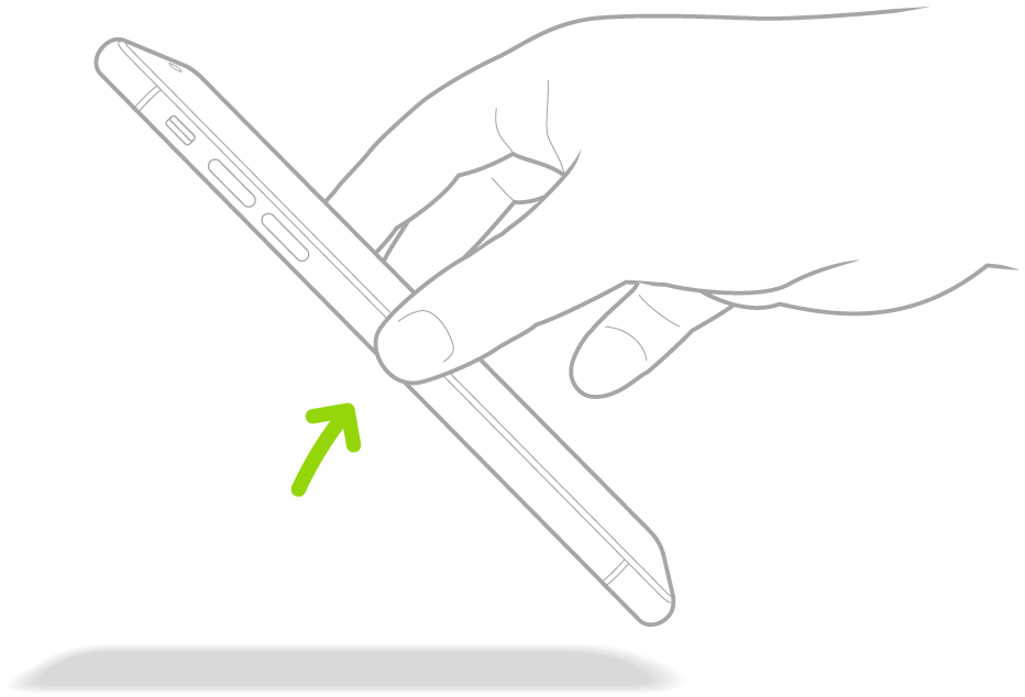 iPhone을 들어서 깨우는 방법을 나타내는 그림.