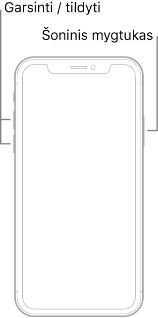 """""""iPhone"""" modelio be pradžios mygtuko ekranu aukštyn iliustracija. Garsinimo ir tildymo mygtukai parodyti įrenginio kairėje pusėje, o šoninis mygtukas parodytas dešinėje pusėje."""