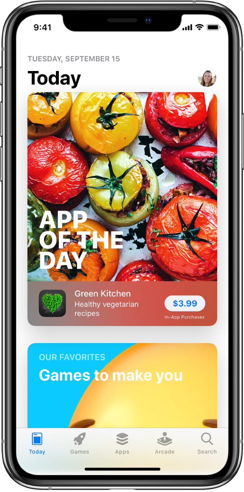 """""""App Store"""" programoje, """"Today"""" ekrane rodomos siūlomos aplikacijos. Jūsų profilio paveikslėlis, kurį palietę galite peržiūrėti pirkinius ir tvarkyti prenumeratas, pateiktas viršuje kairėje. Apačioje iš kairės į dešinę yra skirtukai """"Today"""", """"Games"""", """"Apps"""", """"Arcade"""" ir """"Search""""."""