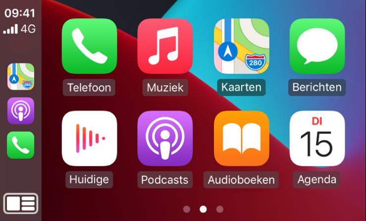 Het CarPlay-beginscherm, met symbolen voor Telefoon, Muziek, Kaarten, Berichten, Huidige, Podcasts, Audioboeken en Agenda.