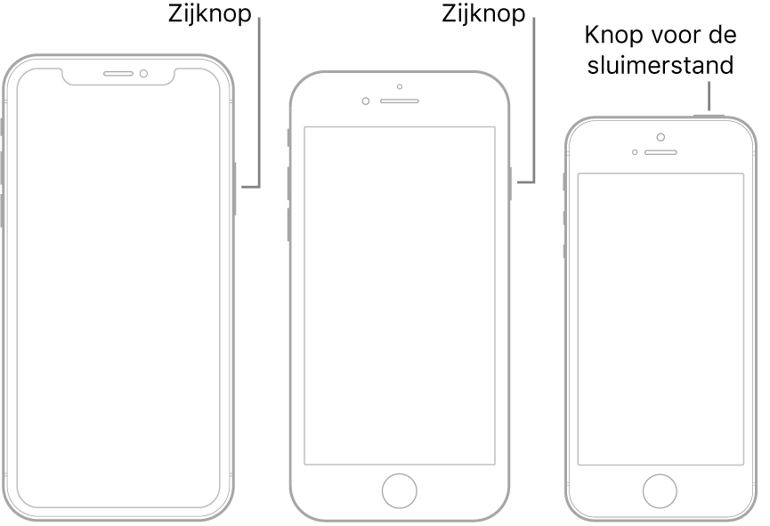 De zijknop of sluimerknop op drie verschillende iPhone-modellen.