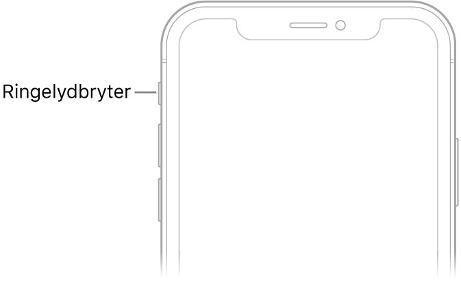 Øvre del av forsiden på iPhone med en bildeforklaring som peker på ringelydbryteren.