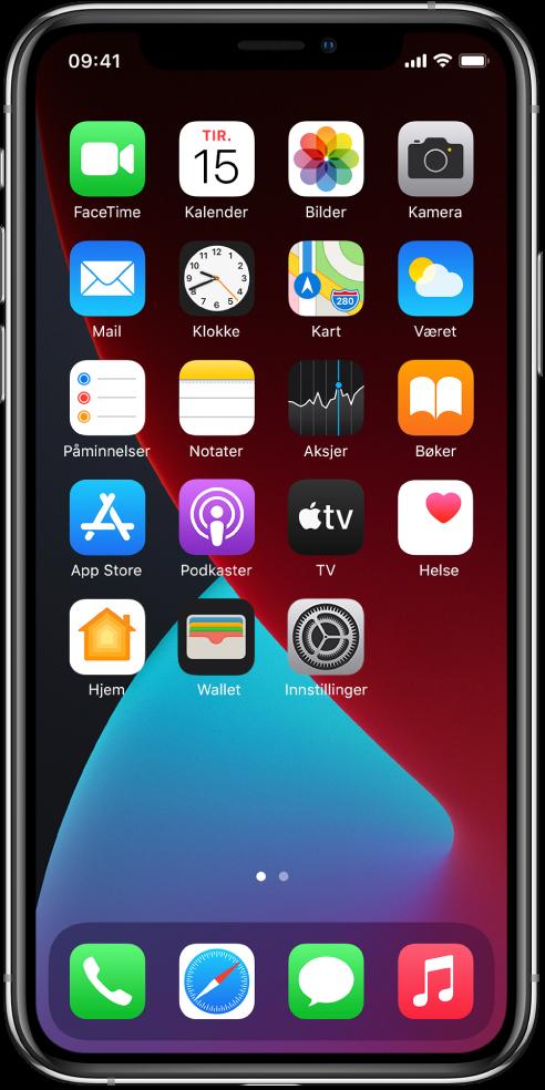 Hjem-skjermen på iPhone med Mørkmodus slått på.