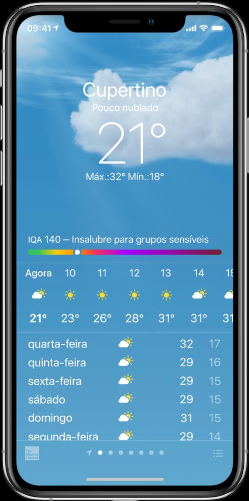 """O ecrã Meteorologia a mostrar a localização, a temperatura atual, as temperaturas máxima e mínima do dia, e um gráfico do índice da qualidade do ar que indica """"Insalubre para grupos sensíveis"""". A meio do ecrã encontra‑se a previsão de hora em hora atual, seguida da previsão para os próximos 7 dias. Uma linha de pontos na parte inferior, ao centro, mostra quantas localizações há na lista de localizações. No canto inferior direito encontra‑se o botão """"Editar cidades""""."""