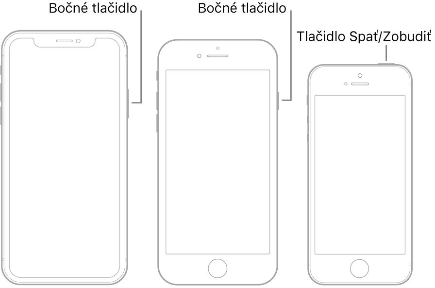 Bočné tlačidlo alebo tlačidlo Spať/Zobudiť na troch rôznych modeloch iPhonu.