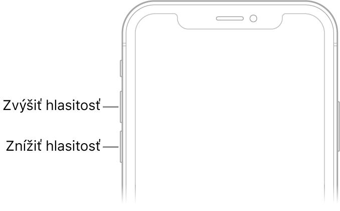 Horná časť prednej strany iPhonu stlačidlami zvýšenia azníženia hlasitosti vľavo hore.