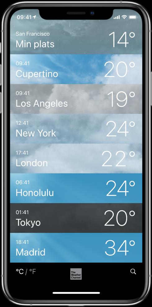 En lista över städer som visar aktuell tid och temperatur för varje.