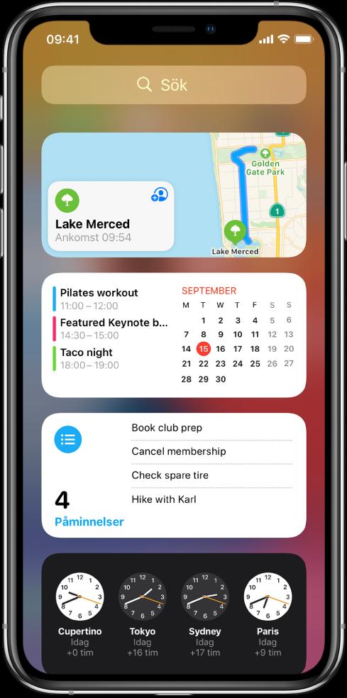 Vyn Idag-widgetar på iPhone, inklusive widgetarna Kartor, Kalendrar, Påminnelser och Klocka.