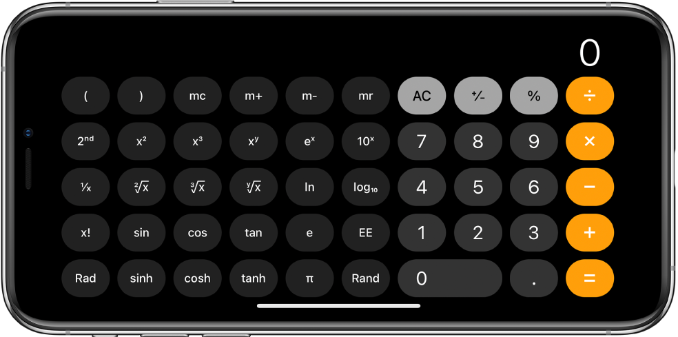 iPhone ในแนวนอนที่แสดงเครื่องคิดเลขทางวิทยาศาสตร์ที่มีฟังก์ชั่นเลขชี้กำลัง ลอการิทึม และตรีโกณมิติ