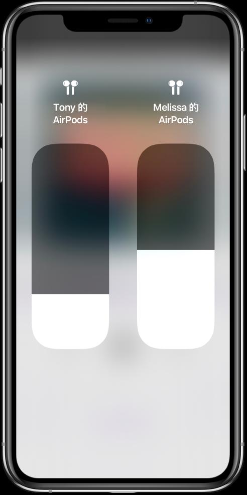 两副 AirPods 的音量滑块控制。