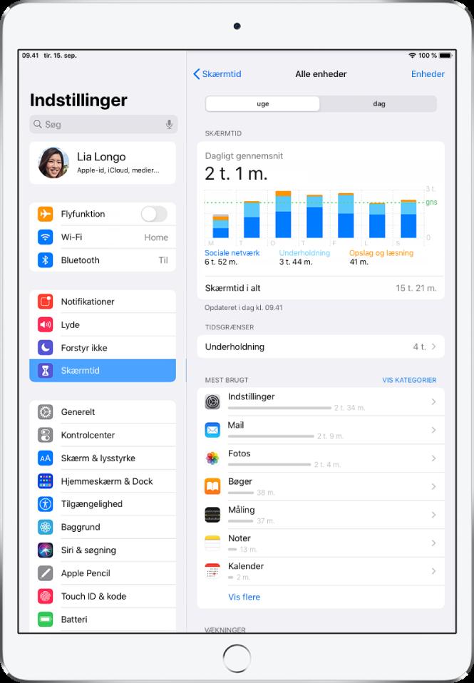 En ugentlig rapport om Skærmtid, der viser, hvor lang tid der er brugt på apps efter kategori og efter app.