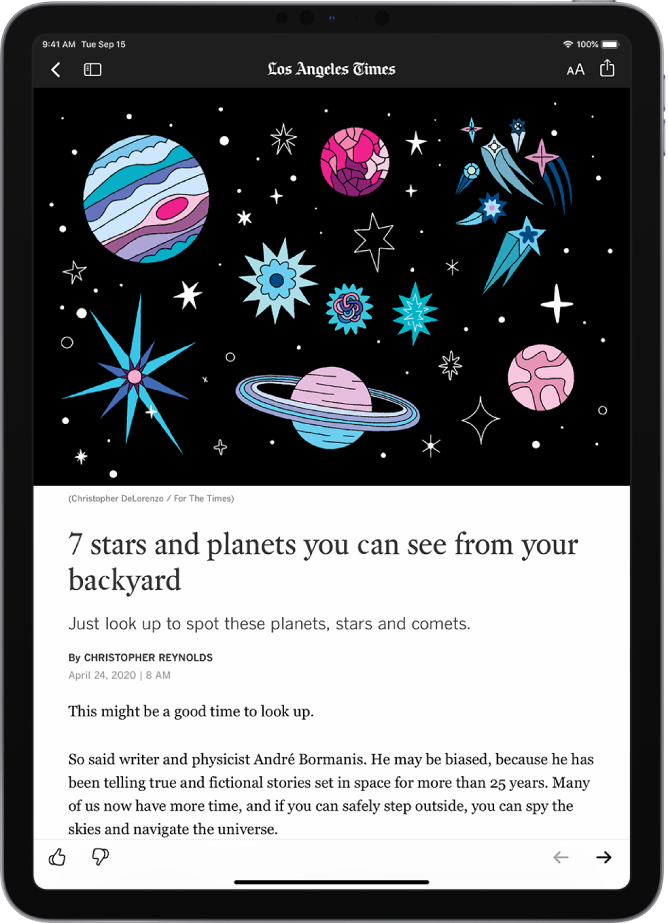 A News story. At the top left are the Previous and Sidebar buttons. The name of the publication appears at the top middle. The Resize Text and Share buttons are at the top right. A large image takes up the top half of the screen. Below the image are the story headline, byline, story date, and the story's first two paragraphs. At the bottom left are the Suggest More and Suggest Less buttons. At the bottom right are the Previous and Next buttons.