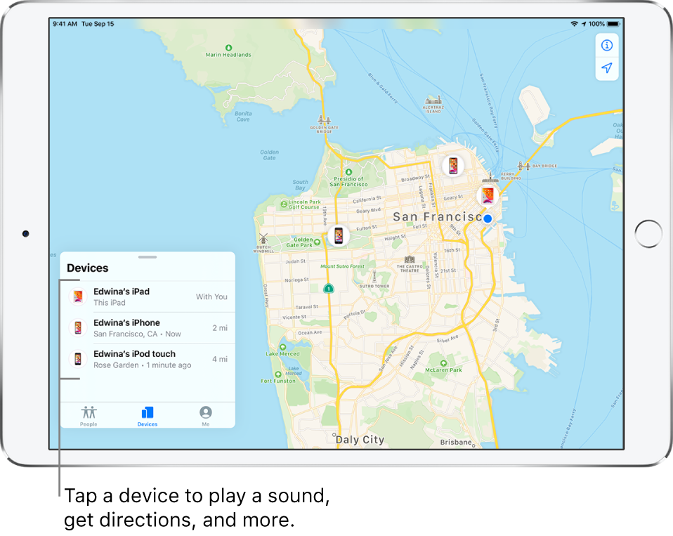 The Find My screen open to the Devices tab. There are three devices in the Devices list: Edwina's iPad, Edwina's iPhone, and Edwina's iPod touch. Their locations are shown on a map of San Francisco.
