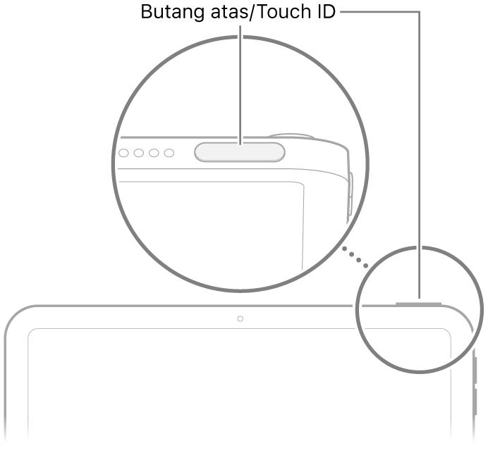 Butang atas/Touch ID pada bahagian atas iPad.