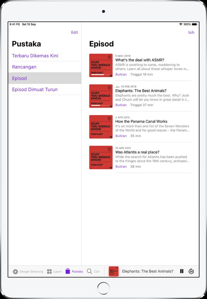 Tab Pustaka menunjukkan podcast dikemas kini terbaru.