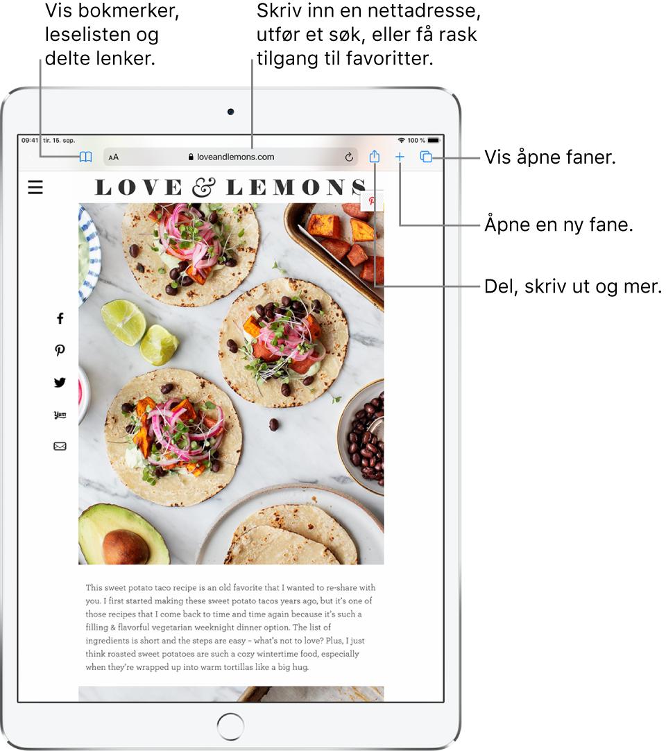 En nettside åpen i Safari med disse kontrollene øverst, fra venstre mot høyre: Tilbake-, Framover- og Bokmerker-knapper, adressefeltet, Del-, Ny fane- og Sider-knapper.