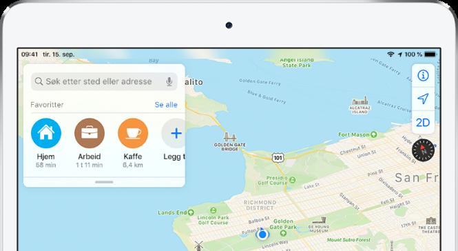 Et kart av San Francisco Bay Area med tre favoritter vist under søkefeltet. Favorittene er Hjem, Jobb og Kaffe.