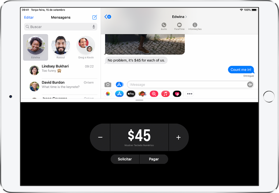 Conversa do iMessage com o app ApplePay aberto na parte inferior.