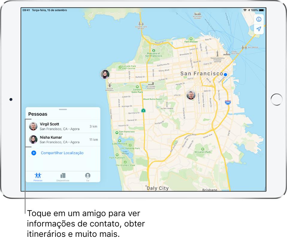 Tela do app Buscar aberta na aba Pessoas. Há dois amigos na lista de Pessoas: Victor Mendes e Nina Simões. Suas localizações são mostradas em um mapa de São Francisco.