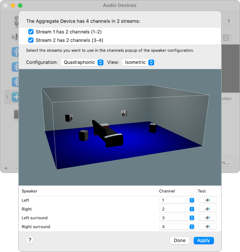 The Audio Devices window showing an aggregate device in the 3D Isometric View. In the list of streams at the top of the window, a stream with four channels is selected. The list of speakers is below the view.