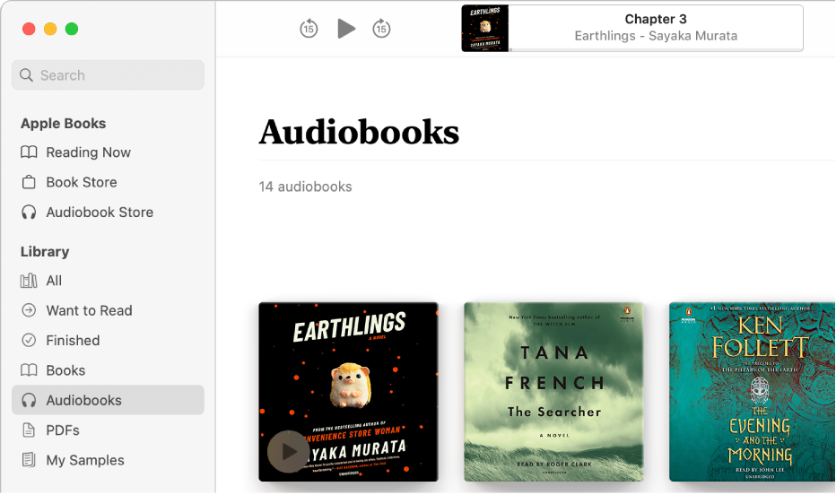 The audiobook player. Along the top are the player's controls, a thumbnail of the audiobook's cover, and the audiobook's title and author. Below is the Audiobooks collection in the library.