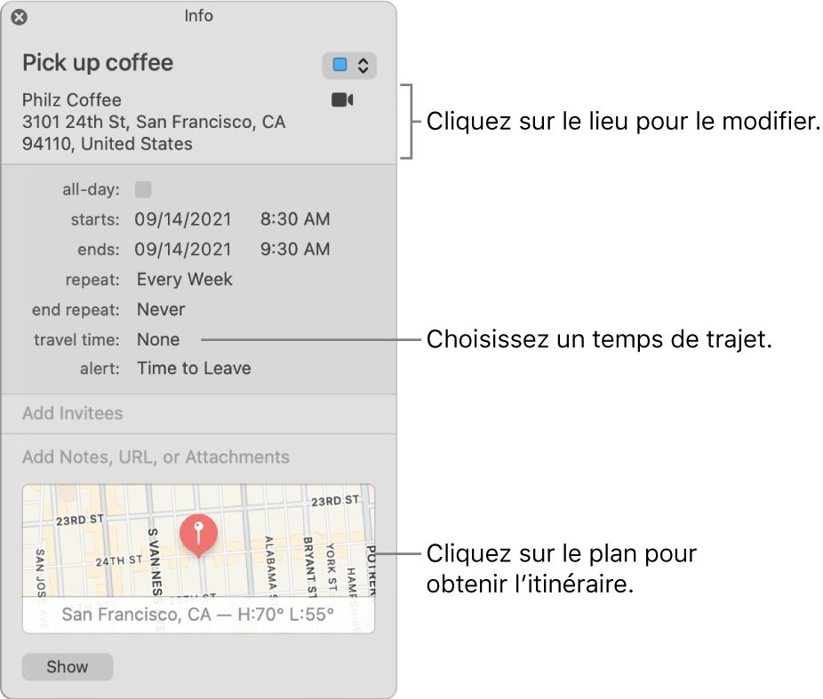 Fenêtre d'informations d'un événement, avec le pointeur sur le menu local Temps de trajet Choisissez une durée de trajet dans le menu local. Cliquez sur le lieu pour le modifier. Cliquez sur le plan pour obtenir l'itinéraire