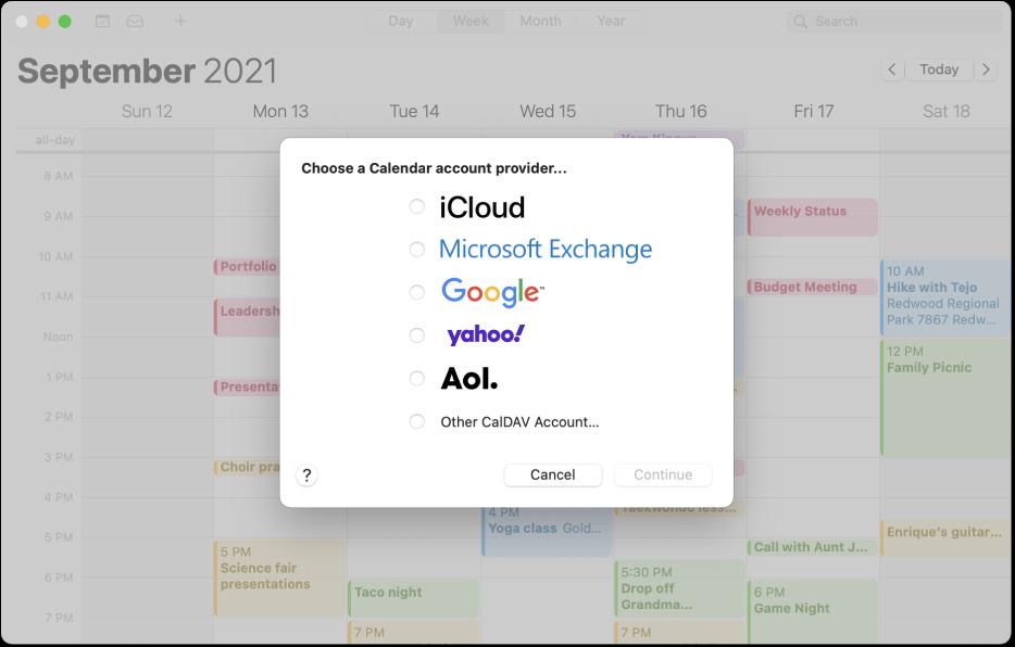 Okno aplikácie Kalendár zobrazujúce panel Pridať účet.