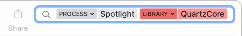 Search field in the Console window with the search criteria set to find messages from the Spotlight process, but not from the QuartzCore library.