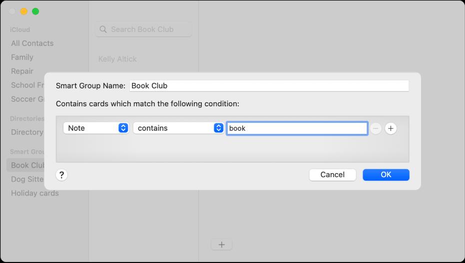 """La ventana para añadir un grupo inteligente, con un grupo llamado """"Club de lectura"""", que incluye los contactos que tienen la palabra """"libro"""" en su campo Nota."""