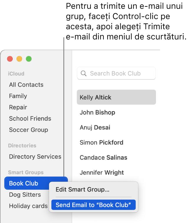 Bara laterală Contacte, afișând meniul pop-up cu comanda pentru trimiterea unui e-mail către grupul selectat.