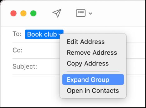Un e-mail în aplicația Mail, afișând un grup în câmpul Către și meniul pop-up afișând comanda selectată Extindere grup.