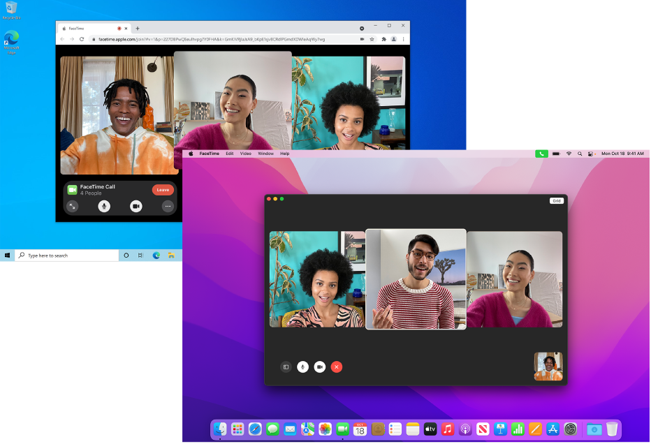 A MacBook Pro with a FaceTime group call in session. Behind it, a PC with a FaceTime on the web group call in session.