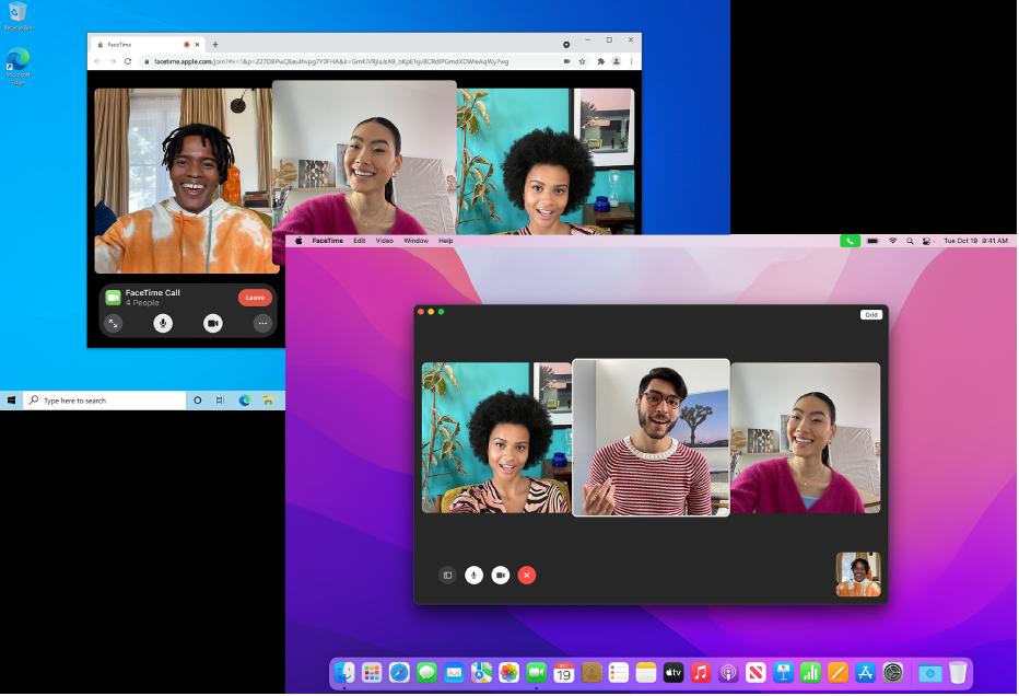 En MacBook Pro med ett FaceTime-gruppsamtal igång. Under den är en PC där ett FaceTime-gruppsamtal pågår på webben.