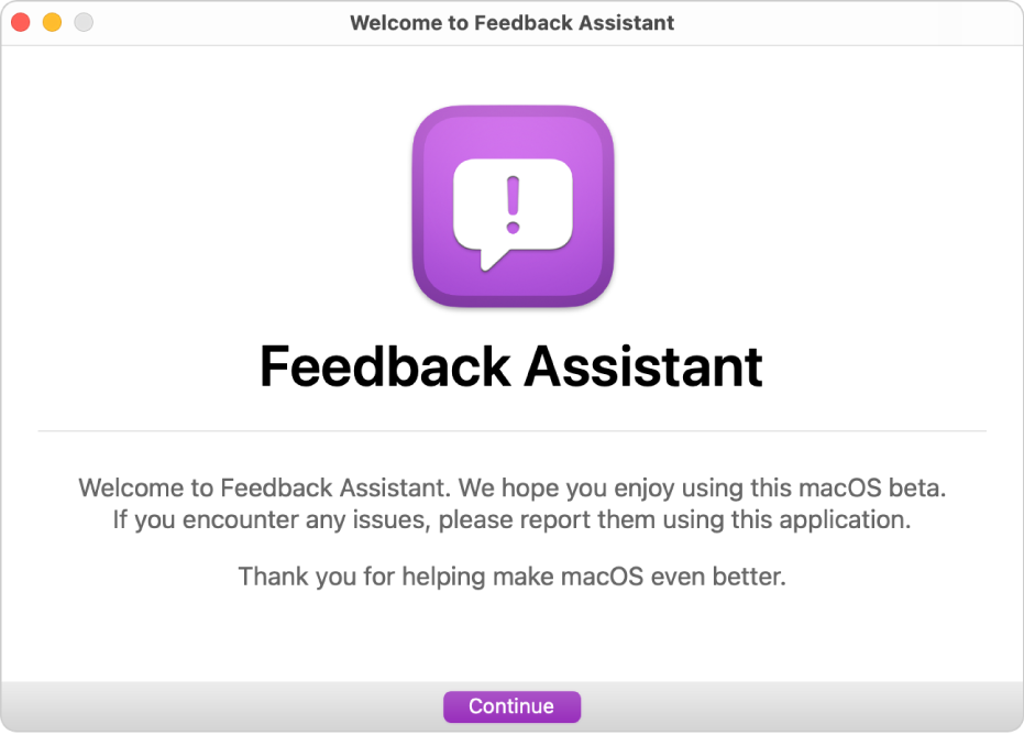 The Welcome to Feedback Assistant window.