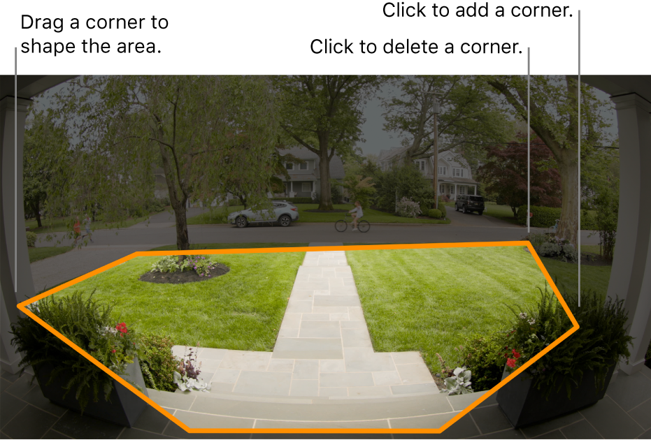 A camera view of an entrance, showing an outlined activity zone around the front yard.