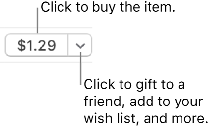 A button displaying a price. Click the price to buy the item. Click the arrow to gift the item to a friend, add the item to your wish list, and more.