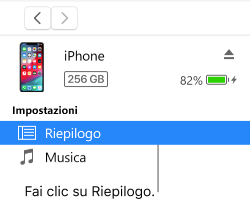 La finestra Dispositivo, con la voce Riepilogo selezionata nella barra laterale a sinistra.