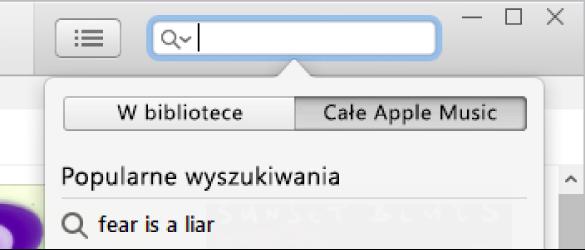 Pole wyszukiwania wAppleMusic.