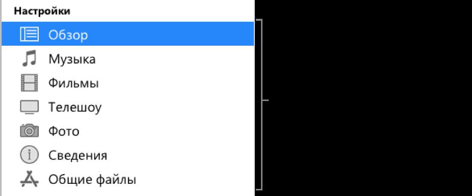 Вкладка «Обзор» выбрана в боковом меню слева. Типы отображаемого контента могут различаться в зависимости от устройства и содержимого Вашей медиатеки iTunes.