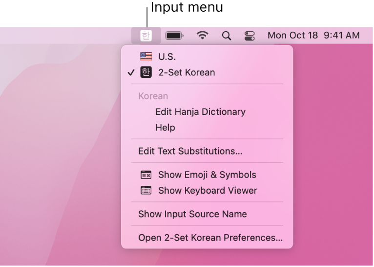 The Input menu showing 2-Set Korean selected in the list of languages. At the bottom of the menu is the Open 2-Set Korean Preferences option.