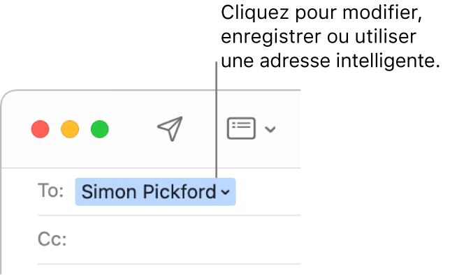 Une adresse intelligente avec la flèche sur laquelle cliquer pour modifier, enregistrer ou manipuler l'adresse.