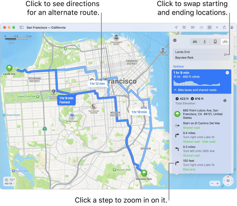 A map of San Francisco with directions for a bicycle route, including elevation and traffic.