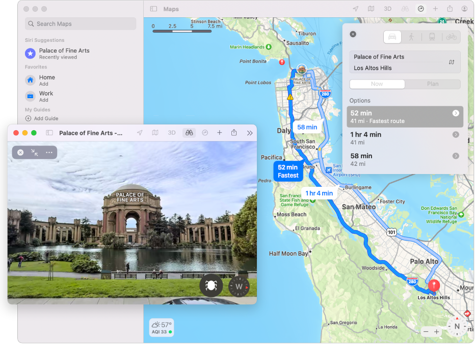 A map of San Francisco, including an interactive 3D view of a local attraction.