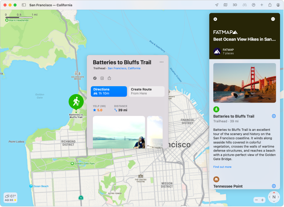 A map of San Francisco. Around the map, on the left and right, are food and travel Guides.