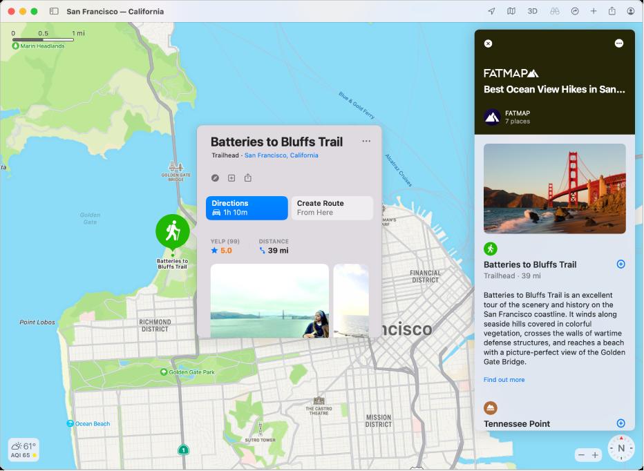 Un mapa de San Francisco. Alrededor del mapa, en la derecha e izquierda, se encuentran guías de viaje y restaurantes.
