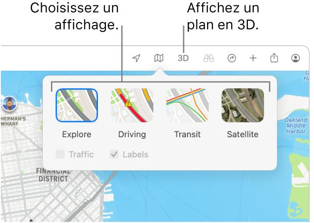 Un plan de SanFrancisco affichant les options d'affichage: «Par défaut», Transports, Satellite et 3D.