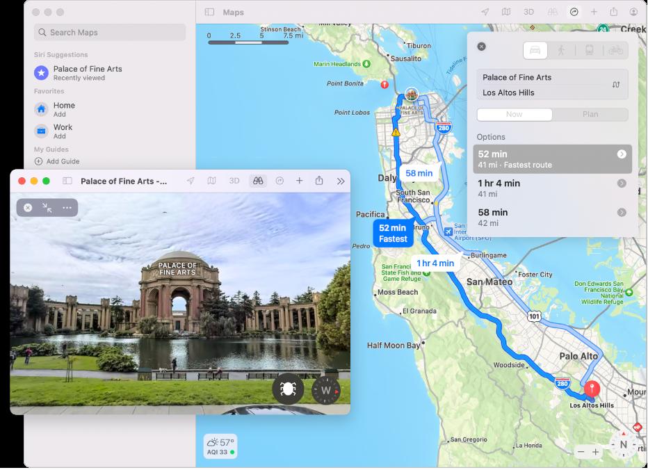 Un plan de SanFrancisco comprenant une présentation3D interactive d'une attraction touristique locale.