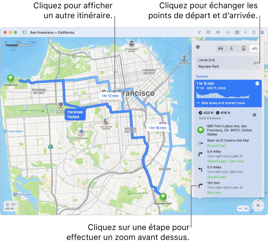 Un plan de SanFrancisco affichant un itinéraire à vélo, avec les informations relatives au dénivelé et à la circulation.