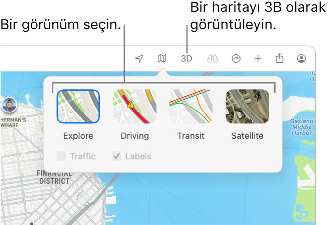 Harita görüntüsü seçeneklerini görüntüleyen bir San Francisco haritası: Saptanmış, Toplu Taşıma, Uydu ve 3D.